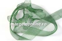 Organza metalica, tub circular, verde frunza