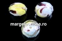 Cristal cu Murano, alb cu galben si turcoaz - x5