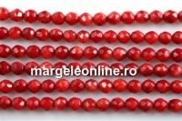 Coral, rosu intens, rotund fatetat, 4.2mm
