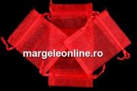 Saculet organza, rosu, 9x7cm - x20