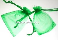 Saculet organza, verde intens, 9x7cm - x20