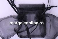 Saculet organza, negru, 12x9cm - x20