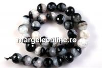 Agate, black-white quartz geode, faceted, 12mm