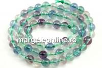 Rainbow fluorite, round, 6mm