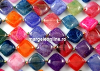 Agate, dragon vein multicolor, square, 16mm