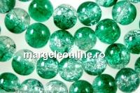 Margele sticla crackle, verde-alb, 8mm - x110