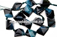 Natural agate, druzy quartz , black - blue sea, 3D square, 23mm