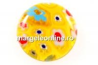 Cabochon Millefiori, galben-multicolor, 15mm