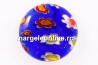 Cabochon Millefiori, albastru cobalt-multicolor, 15mm