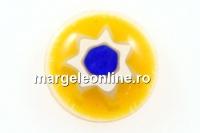 Cabochon sticla Chevron, galben, 9mm