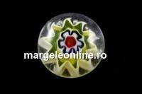 Cabochon sticla Chevron, alb, 9mm