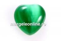 Cabochon ochi de pisica, inima, verde, 7mm