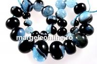 Natural agate, druzy quartz geode, aquamarine blue, 12-30mm