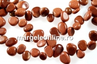 Brown goldstone, free form nugget, 14-16mm