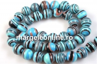 Turquoise-black syntethic malachite, round, 10.5mm