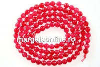 Agate, faceted round, intense pink, 3mm