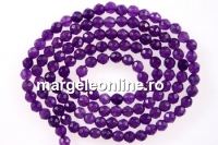 Agate, faceted round, purple, 3mm