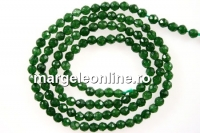 Agate, faceted round, green, 3mm