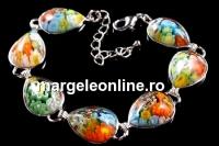 Bratara multicolora Millefiori, 7 cabochoane picatura