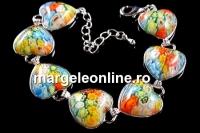 Bratara multicolora Millefiori, 7 cabochoane inima