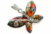 Pandantiv Murano model Millefiori, multicolor cu strasuri, 43.5mm