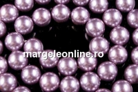 Perle Mallorca, rotund, mov-argintiu, 6mm