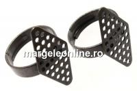 Baza inel pentru brodat cu margele, romb, 28x14mm - x2