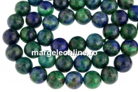 Natural azurite, round, 10.5mm