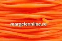 Snur cauciuc satinat, portocaliu neon, 2mm - x5m
