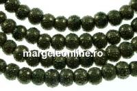 Perle sticla efect, verde oliv intens, 4mm - x226