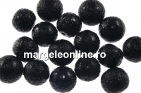 Perle sticla efect, negru, 6mm - x50