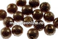 Perle sticla efect, maro, 8mm - x40
