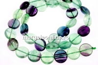 Rainbow fluorite, natural, disc, 12mm