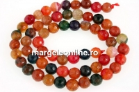 Agate dragon vein, multicolor, faceted round, 6mm