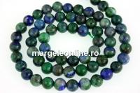 Natural azurite, round, 6mm