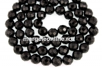 Black spinel, natural, faceted round, 6mm