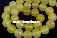 Agate, intense yellow, round, 12mm