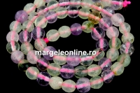 Mix white, pink quartz, prehnite, amethyst, citrine, microfaceted round, 6mm