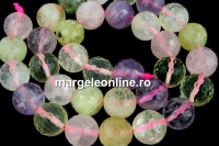Mix white, pink quartz, prehnite, amethyst, citrine, microfaceted round, 12mm