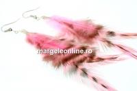 Cercei pene exotice, 12-15cm, roz