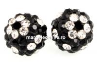 Margele shamballa, jet - crystal, 10mm - x2