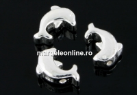 Margele decor, delfin, argint 925, 9x6mm - x1