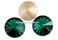 Swarovski, rivoli, emerald, 12mm - x2