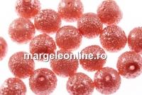 Perle sticla efect, roz vintage, 6mm - x50