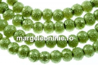Perle sticla efect, vernil, 4mm - x226