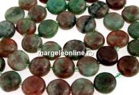 Natural green garnet, flat disc, 9.5mm