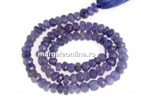Tanzanite, natural stone, faceted rondelle , 4-4.6mm