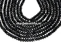 Black spinel, natural, faceted rondelle, 3mm