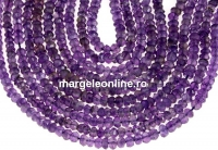Amethyst, natural, faceted rondelle, 3.9mm