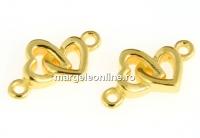 Link inimoare, argint 925 placat cu aur, 12x7mm - x1